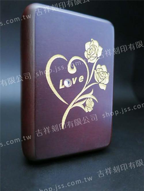 黑檀木5分、6分印章專用-刷金鑲鑽對印木盒-LOVE玫瑰花