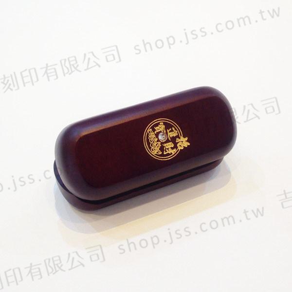 黑檀木印章-單印刷金鑲鑽系列-元寶招財進寶